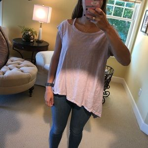 Off the shoulder lilac tshirt from Anthropologie